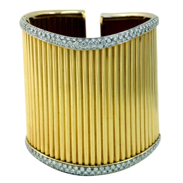Diamond Set Gold Cuff with Ribbed Design