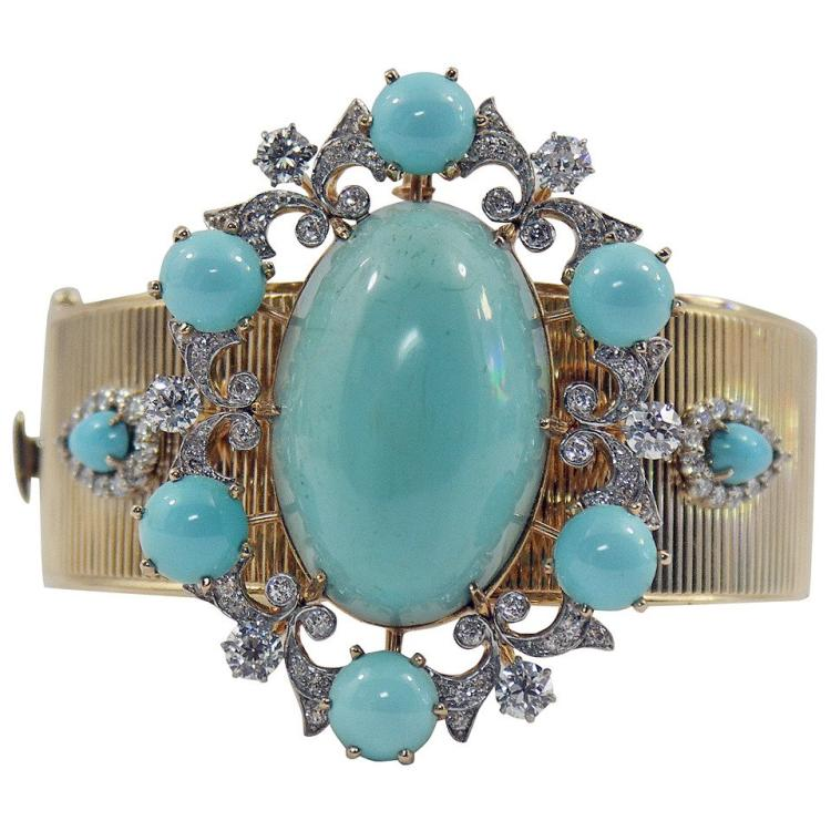 Turquoise Diamond Brooch and Bracelet Combination