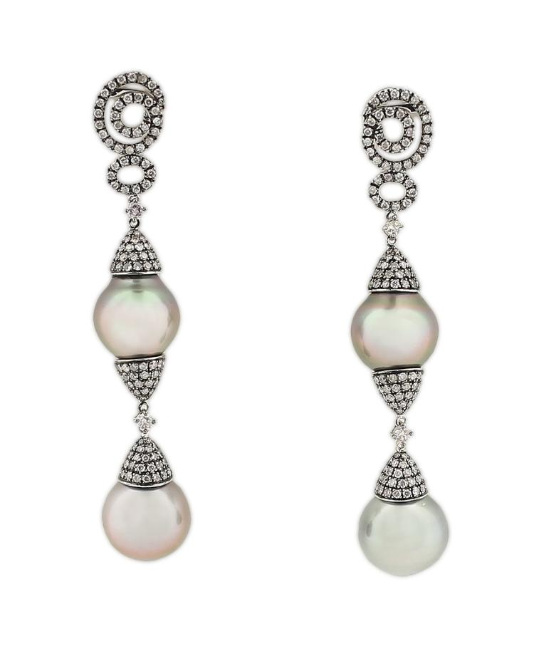 18K TAHITIAN PEARL AND DIAMOND EARRINGS
