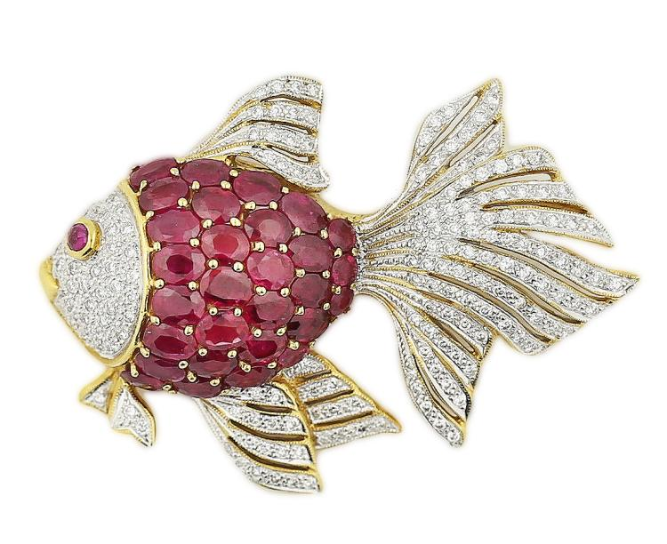 18K RUBY & DIAMOND FISH PIN