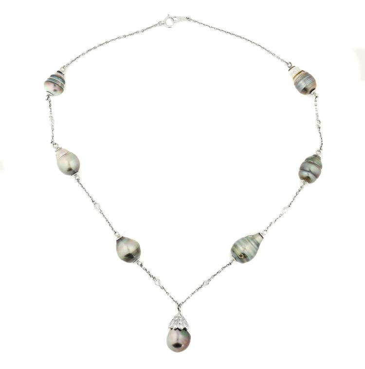 PLATINUM TAHITIAN PEARL NECKLACE