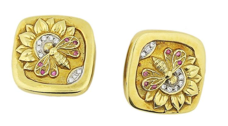 18K GOLD EAR-CLIPS, SEIDENGANG