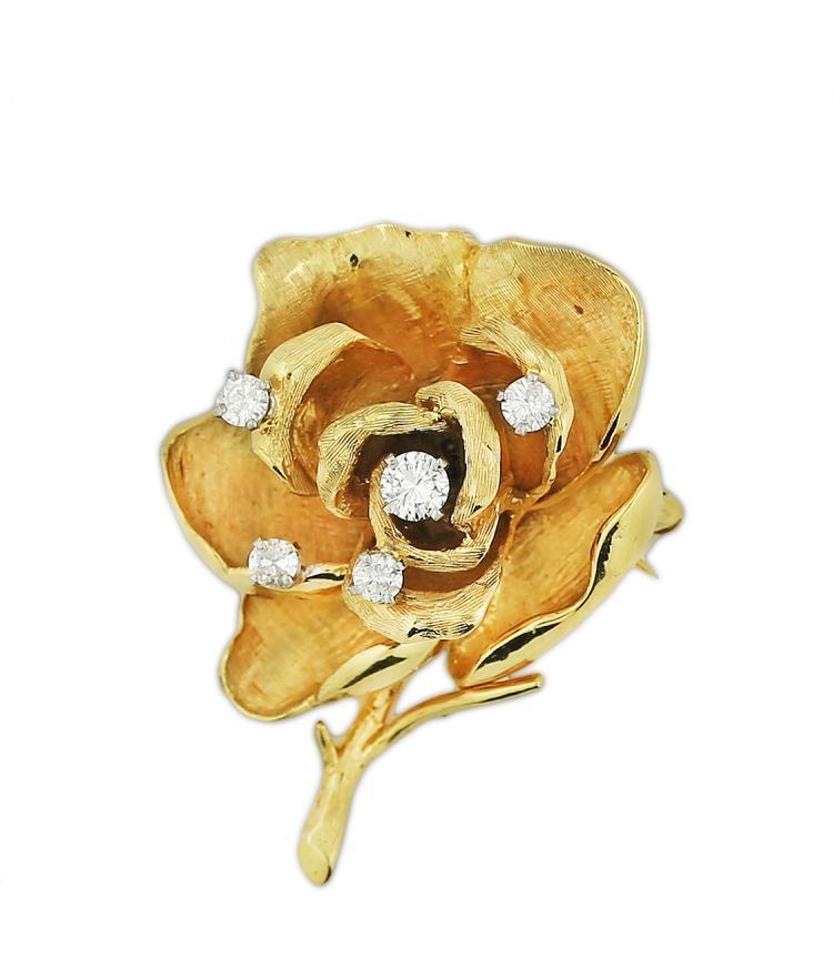 18K GOLD FLOWER PIN