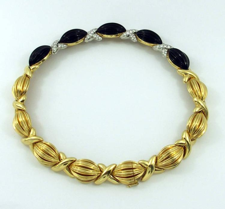 Turi Onyx Diamond Gold Necklace