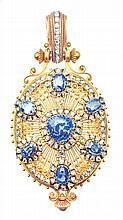 CEYLON SAPPHIRE AND DIAMOND LOCKET PENDANT