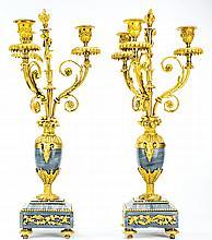 PAIR OF LOUIS XVI STYLE THREE-LIGHT CANDELABRA