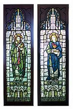 2 LEADED/STAINED GLASS ECCLESIASTICAL WINDOWS OF SAINTS