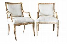 PAIR REGENCY STYLE LEATHER & BLEACHED WOOD ARMCHAIRS