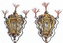 PAIR OF ITALIAN ROCOCO PAINTED AND PARCEL GILT TOLE