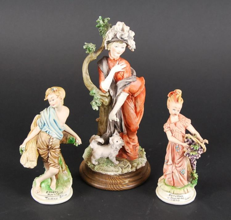 PAIR TIZIANO GALLI PORCELAIN FIGURES & ANOTHER