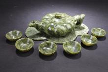 Group of Chinese Jade Tea Pot Set