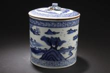 A Lidded Blue and White Landscape-sceen Jar