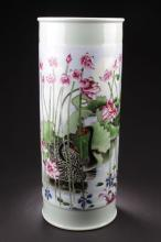 A Tall Poetry-decorating Lakesceen Chinese Porcelain Jar