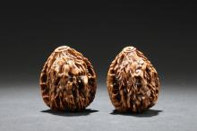 Two Chinese Estate Walnuts Curving-pieces