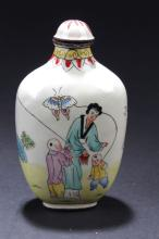 An Estate Chinese Family-sceen Snuff Bottle