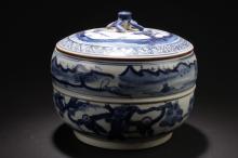 A Lidded Landscape Porcelain Jar