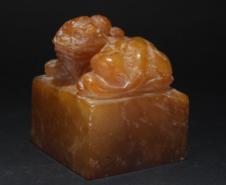 An Estate Chinese Anicent-framing Soapstone Display Seal