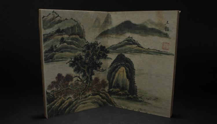 An Estate Chinese Mountain-view Book Display