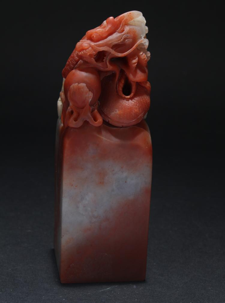 An Estate Chinese Soapstone Myth-beast Seal Display