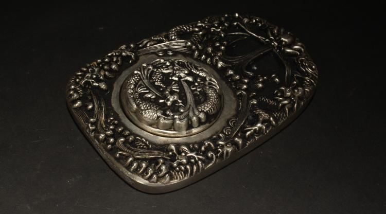 A Chinese Lidded Estate Metal Fortune Display