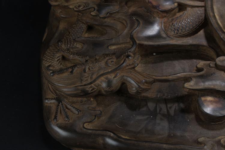 A Massive Chinese Estate Dragon-decorating Inkstone Display