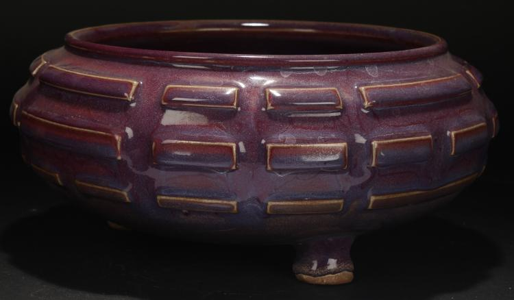 A Chinese Mazed-fortune Purple Porcelain Display