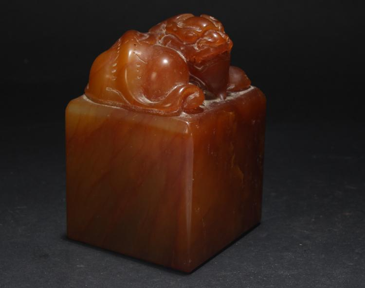 An Estate Chinese Soapstone Display Seal