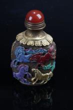 An Estate Chinese Metal-craft Story-telling Snuff Bottle