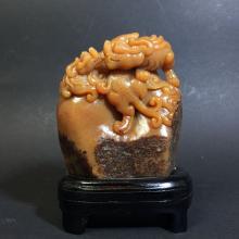 A Shoushan Stone Duo-dragon Display