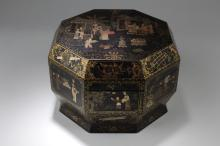 A Chinese Estate Octa-shape Lacquer Box