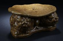 Chinese Antique Marble Glazed Pillow