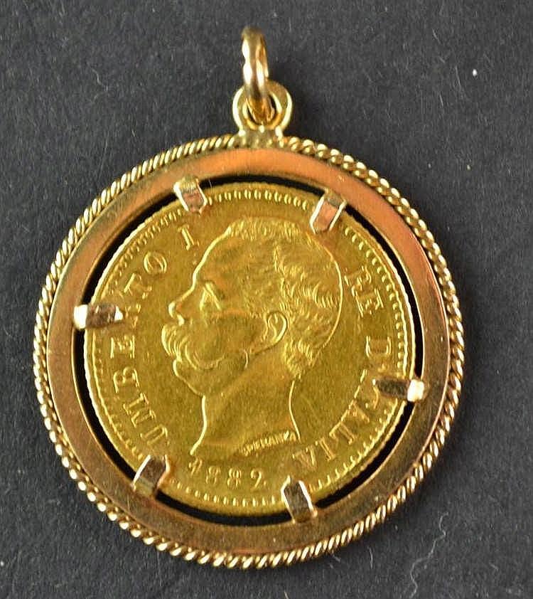 Gouden 20 lire munt 1882