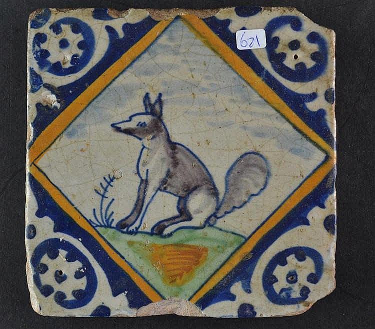 17e eeuwse kwadraat tegel eekhoorn