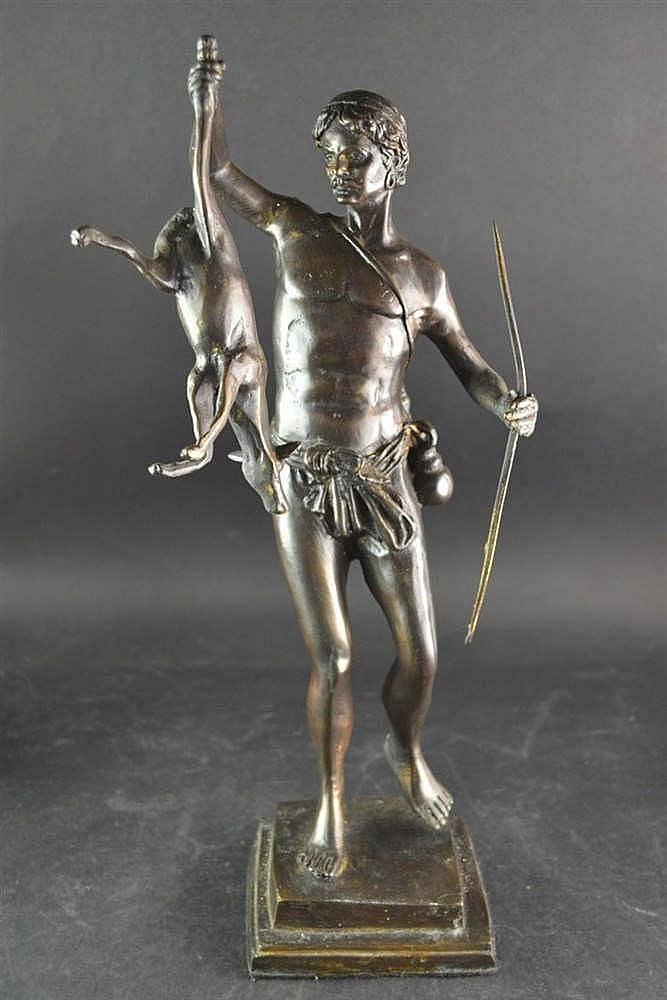 Bronzen beeld - Jager met vangst