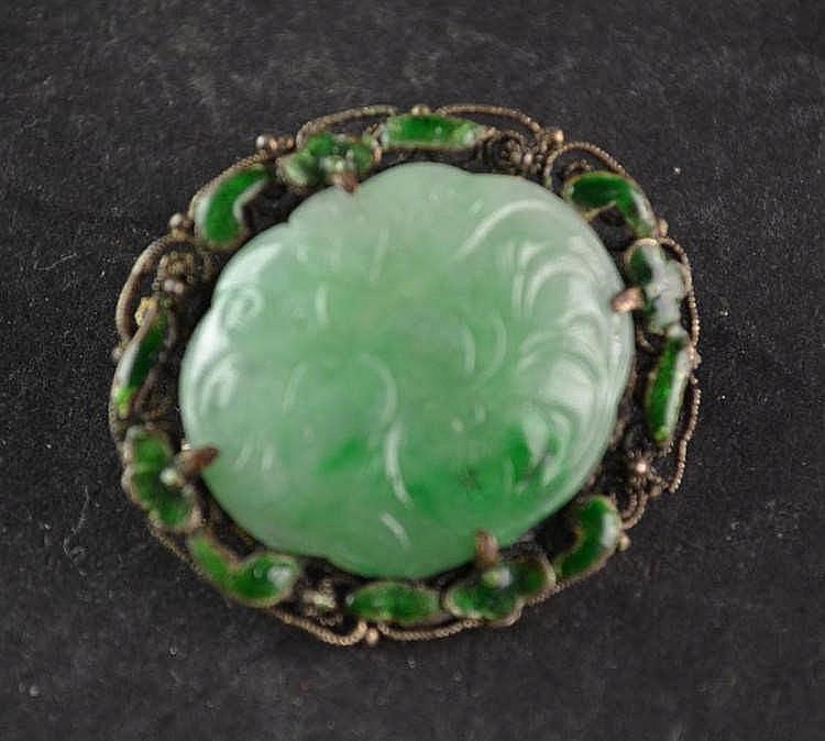 Broche zilver emaille en jade