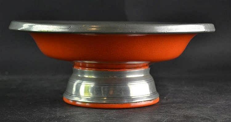 Plateelbakkerij Zuid Holland/Gero Oranje schaal met tinnen beslag
