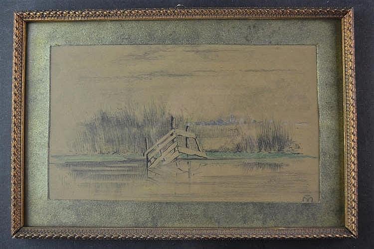 Tekening landschap met hek in water