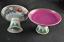 (Asian antiques) 2 stemcups/tazzas