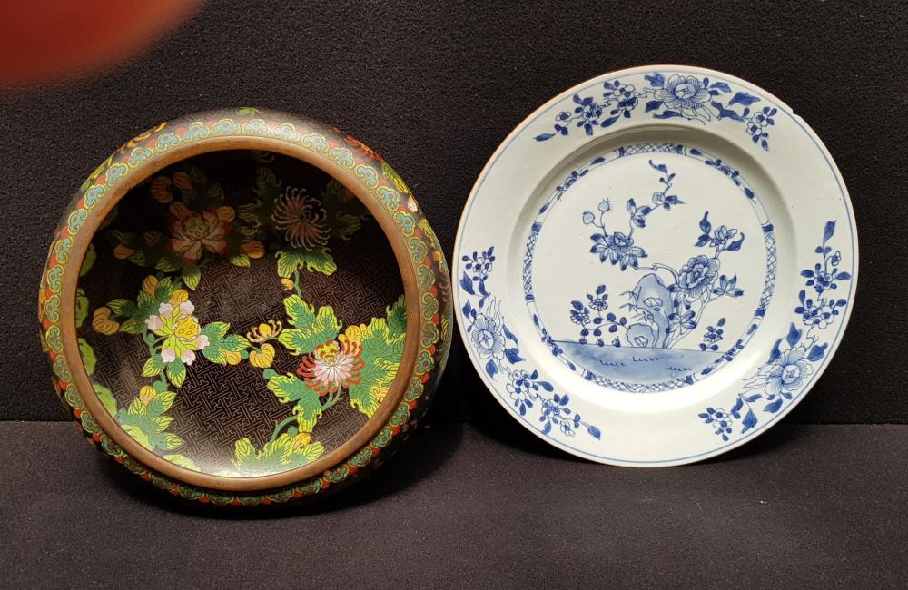 Asian art) Chinese cloisonne brushwasher and Qianlong plate