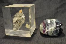 Lot of Polished Labradorite and Rutilated Quartz in Lucite Rock Specimens
