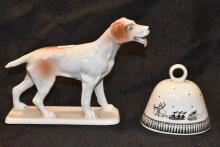 Lot of Arpo Porcelain Dog Figurine and English Arabia Bell