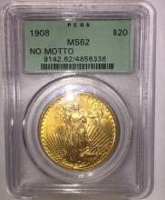 1908 MS 62 $ 20 Gold Saint Gaudens Green Rattler
