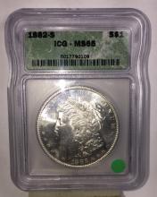 1882 s GEM BU Morgan Silver Dollar Slabbed