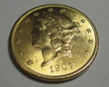 Very Nice 1907 $20 Gold Liberty Double Eagle