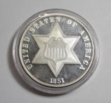 1851 - 2 oz. Silver III cent  .999 Silver Bullion
