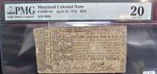 1774 Half of a Dollar Colonial Script VF20 PMG
