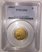 1909 S $ 5 Indian XF 45 PCGS