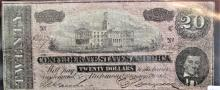 1864 $20 Confederate States Currency -