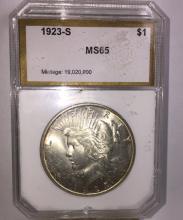 1923 S GEM BU Key Date Peace Silver Dollar