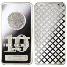 10 Oz. Morgan Design Silver Bar - .999 pure